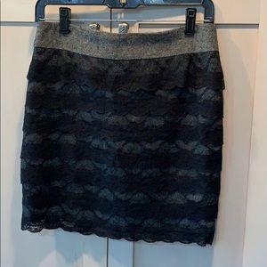 Super sexy twill and black lace mini midi skirt